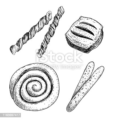 Bakery shop goods set. Puff pastry twisted bread sticks, little roll bun with berries jam, cinnamon iced bun and sesame grissini sticks. Hand drawn sketch style retro design. Vector illustrations isolated on white. EPS10 + JPEG preview.