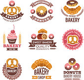 Bakery shop icons. Donuts cookies fresh food cupcakes and bread pictures for vector badges design of bakery market