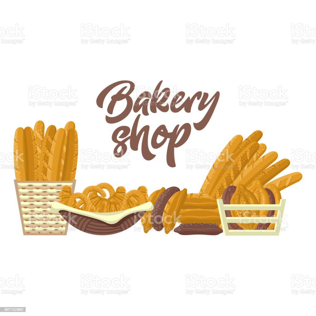 Bakery shop set with different kinds of bread vector art illustration