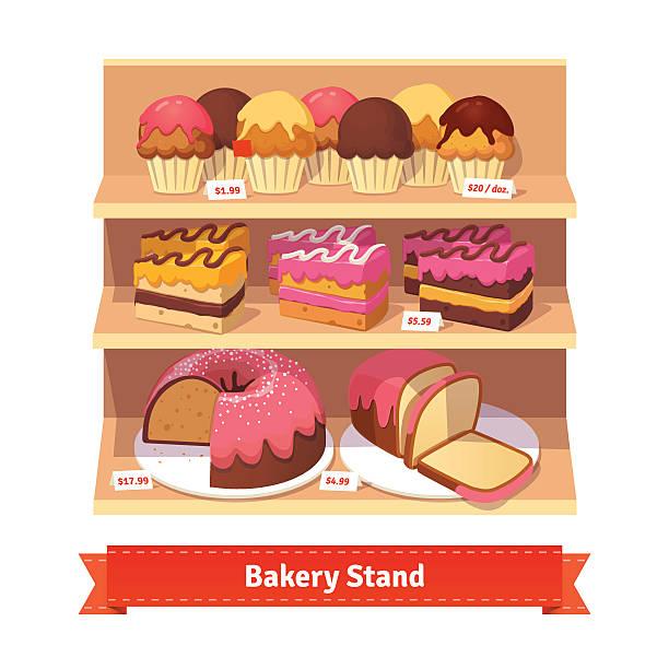 bäckerei stand mit süßen desserts - standvitrine stock-grafiken, -clipart, -cartoons und -symbole