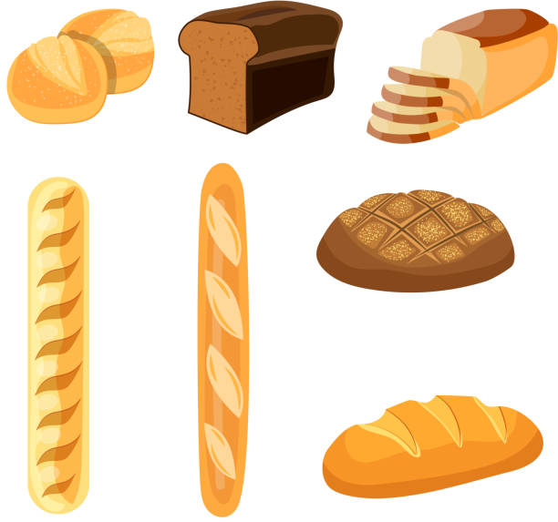 Bakery shop vector icons. Bakery shop vector icons. Baked bread products wheat, rye bread loafs, bagels, sliced bread toasts. Elements for bakery, pastry design bread silhouettes stock illustrations