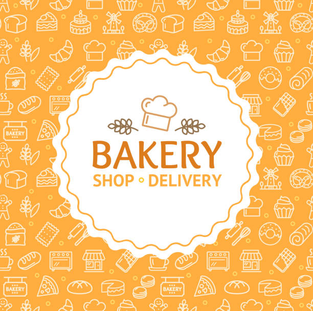 Bakery Signs Round Design Template Thin Line Icon Concept. Vector Bakery Signs Round Design Template Thin Line Icon Concept Banner Frame or Border for Text. Vector illustration bread borders stock illustrations