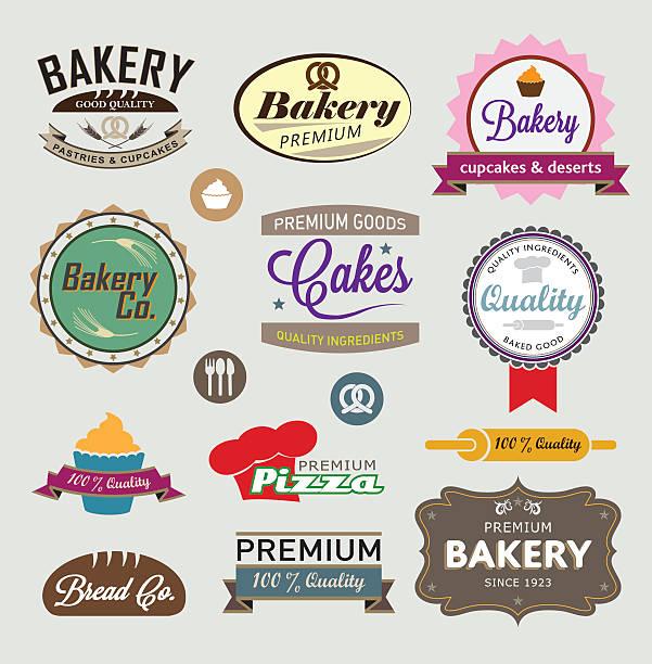 Bakery signs vector art illustration