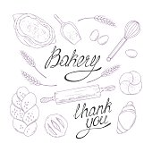 Bakery sketched illustrations in vector. Hand drawn groceries goods collection. Food design