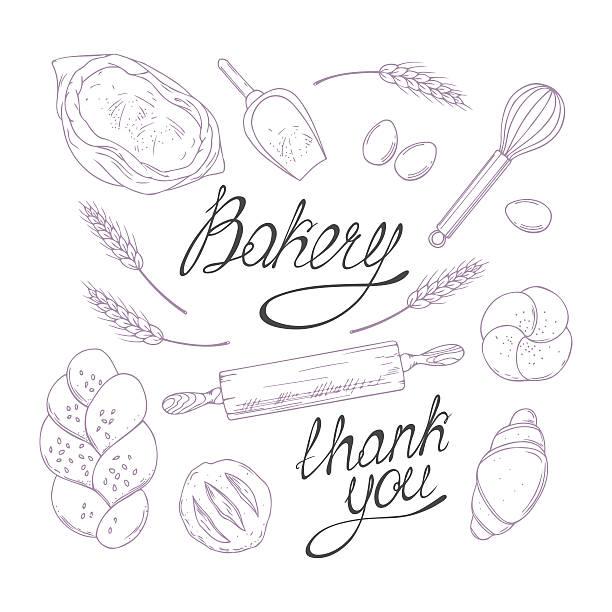 ベーカリースケッチイラストをベクトルします。手描きの雑貨品のコレクション - 食パン点のイラスト素材/クリップアート素材/マンガ素材/アイコン素材