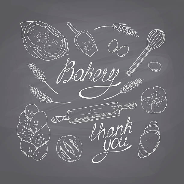 Bakery sketched objects. Hand drawn groceries goods collection. Chalk style Bakery sketched objects. Chalk style vector illustration. Chalkboard food background rolling pin stock illustrations