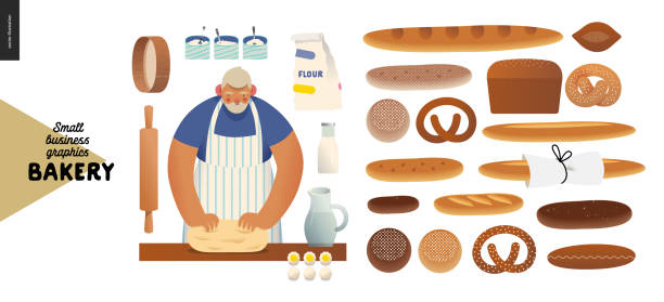 Bakery - small business graphics - baker and bread Bakery -small business illustrations -baker and bread - modern flat vector concept illustration of a baker kneading the dough. Wheat, rye bread, loaf, grain, pretzel, bun, roll, french baguette pastry dough stock illustrations