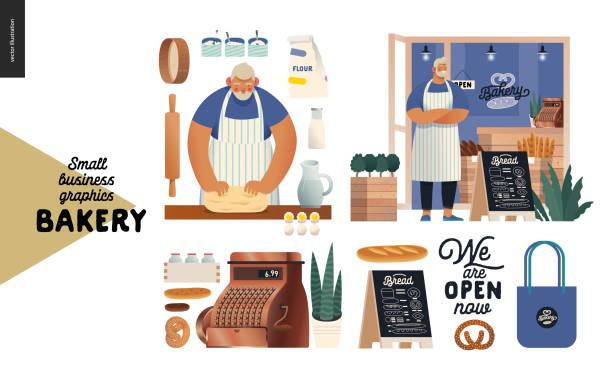 illustrations, cliparts, dessins animés et icônes de boulangerie - graphiques de petites entreprises - ensemble de boulangerie - boulanger
