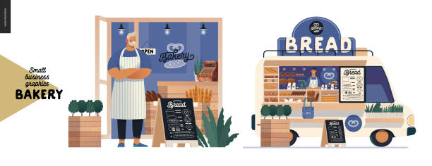 bakery - small business graphics - cafe owner and food truck - small business owner stock illustrations