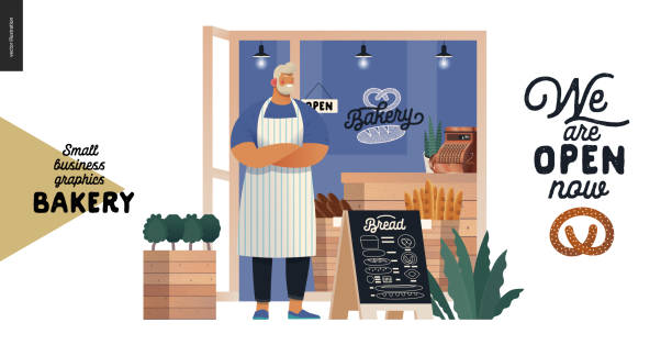 bakery - small business graphics - cafe owner - small business owner stock illustrations