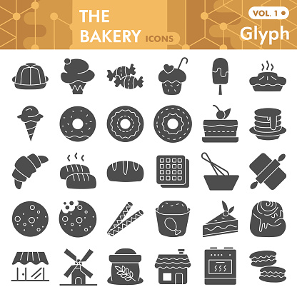Bakery solid icon set, pastry symbols collection or sketches. Dessert signs for web, glyph style pictogram package isolated on white background. Vector graphics.