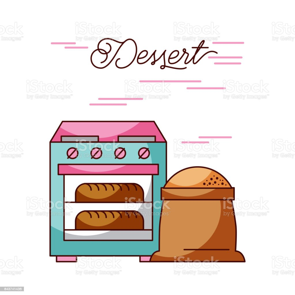 bakery stove oven with two hot bread sack flour vector art illustration