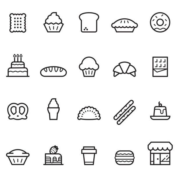 bakery thin line icons - pie stock illustrations, clip art, cartoons, & icons