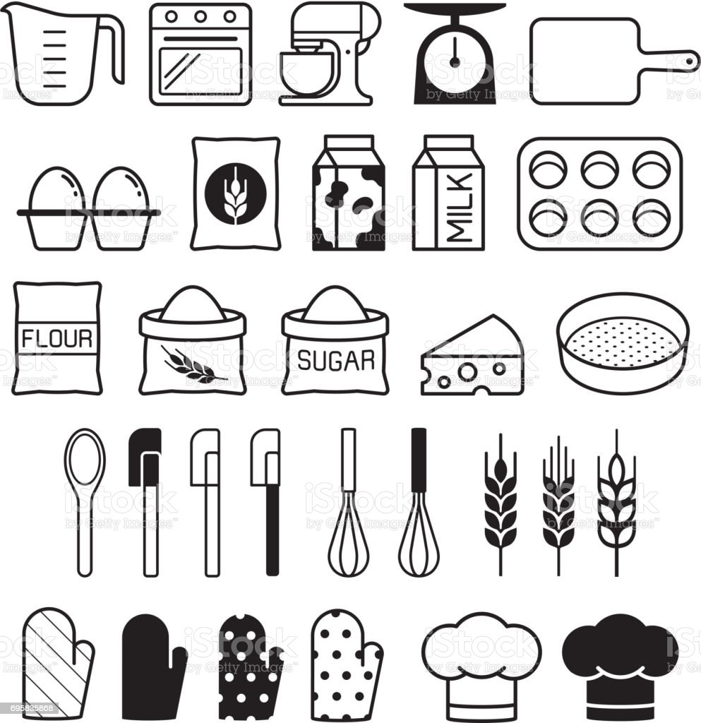 Bakery tool icons set. Vector illustration. vector art illustration