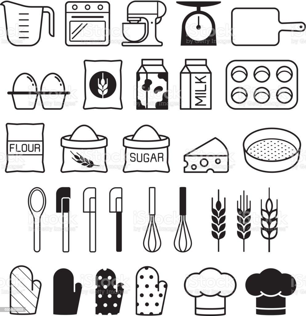Bäckerei Symbole festgelegt. Vektor-Illustration. – Vektorgrafik