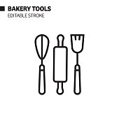 Bakery Tools Line Icon, Outline Vector Symbol Illustration. Pixel Perfect, Editable Stroke.