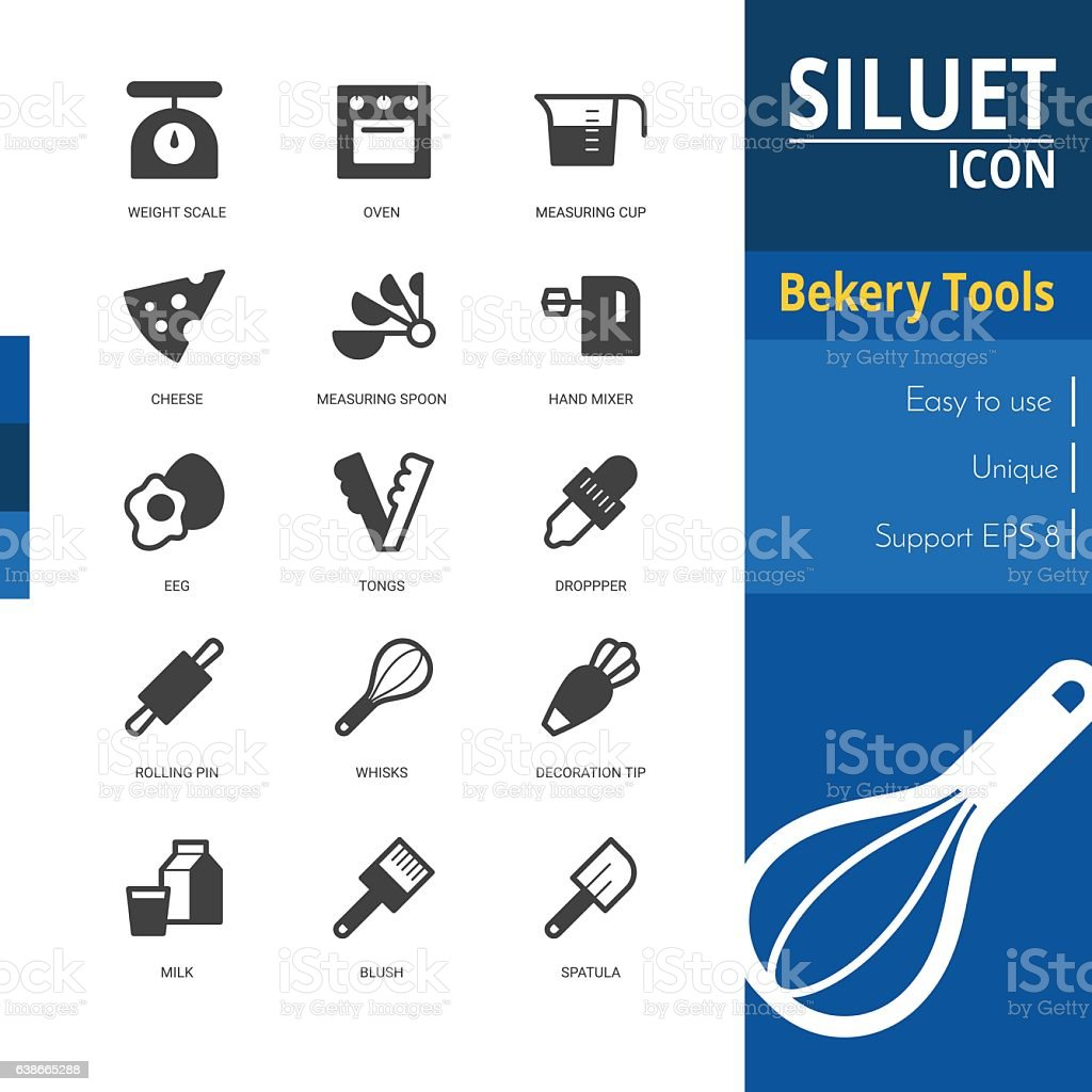Bakery tools silhouette icon sets on white background. vector art illustration
