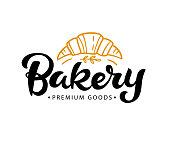 Bakery type badge label with hand written modern calligraphy. Elegant lettering emblem, vintage retro style.