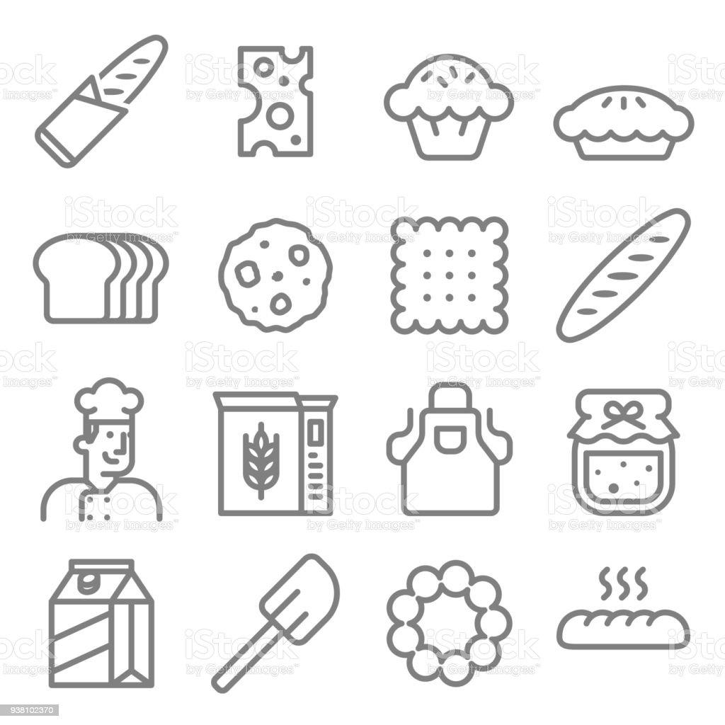 Boulangerie icon set vector - Illustration vectorielle