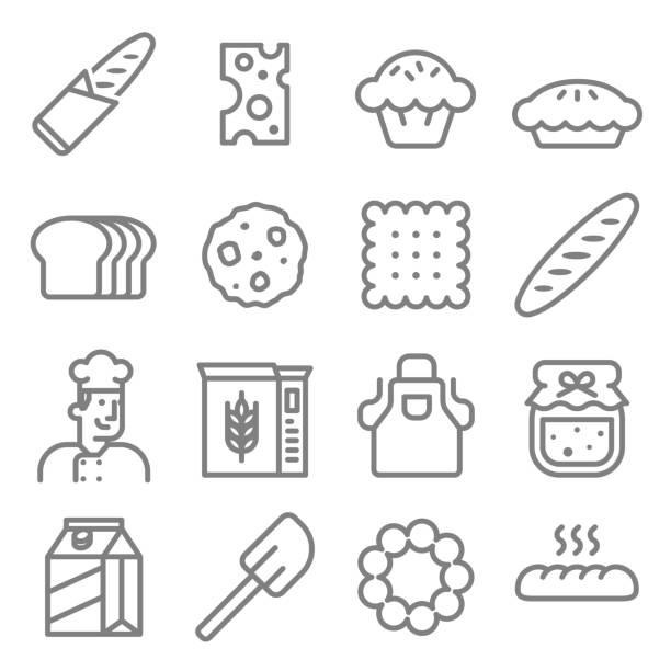 Bakery vector icon set Bakery baker line icon set bread icons stock illustrations