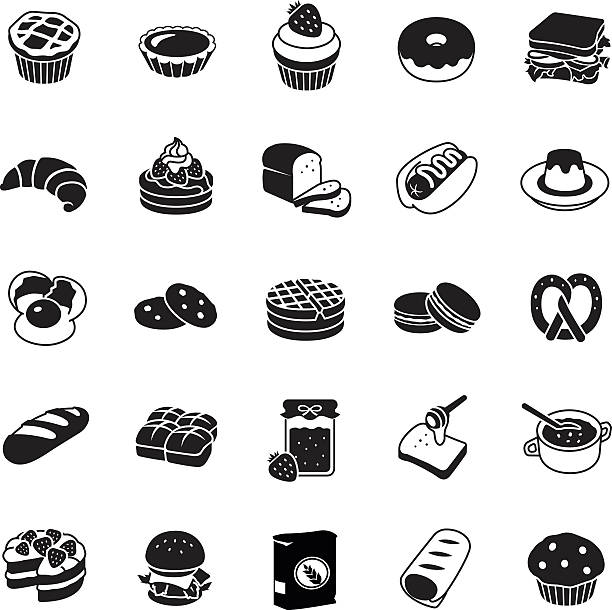 Bakery vector icons Bakery glyph vector icons bread icons stock illustrations
