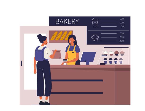 ilustraciones, imágenes clip art, dibujos animados e iconos de stock de panadería - barista