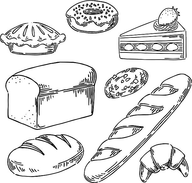 Bakery Vector illustration of breads and cakes. bread drawings stock illustrations