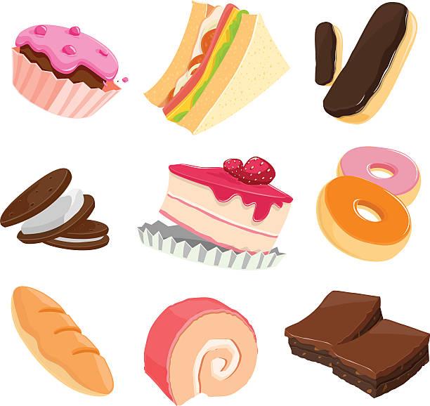 bildbanksillustrationer, clip art samt tecknat material och ikoner med bakery - brownie