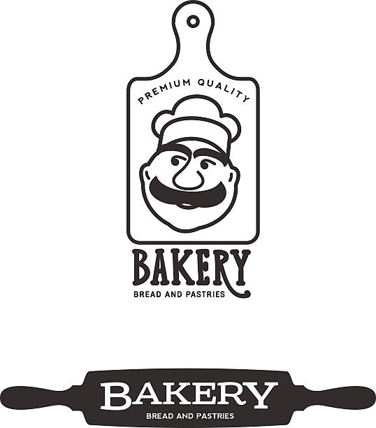Bakery Set of two black-and-white logo for bakeries.Set of two black-and-white elements for advertising for bakeries. rolling pin stock illustrations