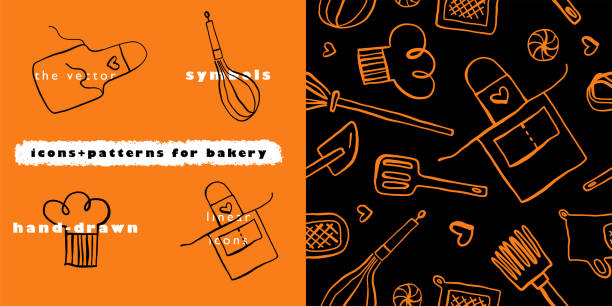 Bakery vector symbol with gastronomic seamless pattern. Doodle background for restaurant branding. Hand-drawn illustrations of bakehouse. Linear icons for emblem of cooking class. Cooking food pattern. cooking drawings stock illustrations