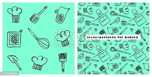 istock Bakery vector symbol with gastronomic seamless pattern. 1203926954