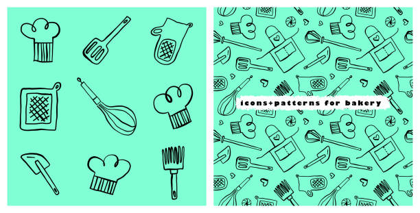 Bakery vector symbol with gastronomic seamless pattern. Doodle background for restaurant branding. Hand-drawn illustrations of bakehouse. Linear icons for emblem of cooking class. Cooking food pattern. cooking patterns stock illustrations