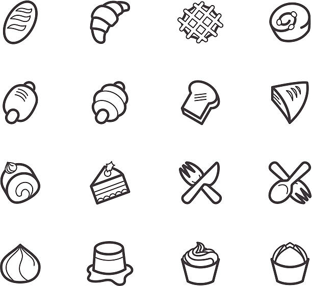 bakery_popular_vector_icon_set_on_white_background - rosinenplätzchen stock-grafiken, -clipart, -cartoons und -symbole