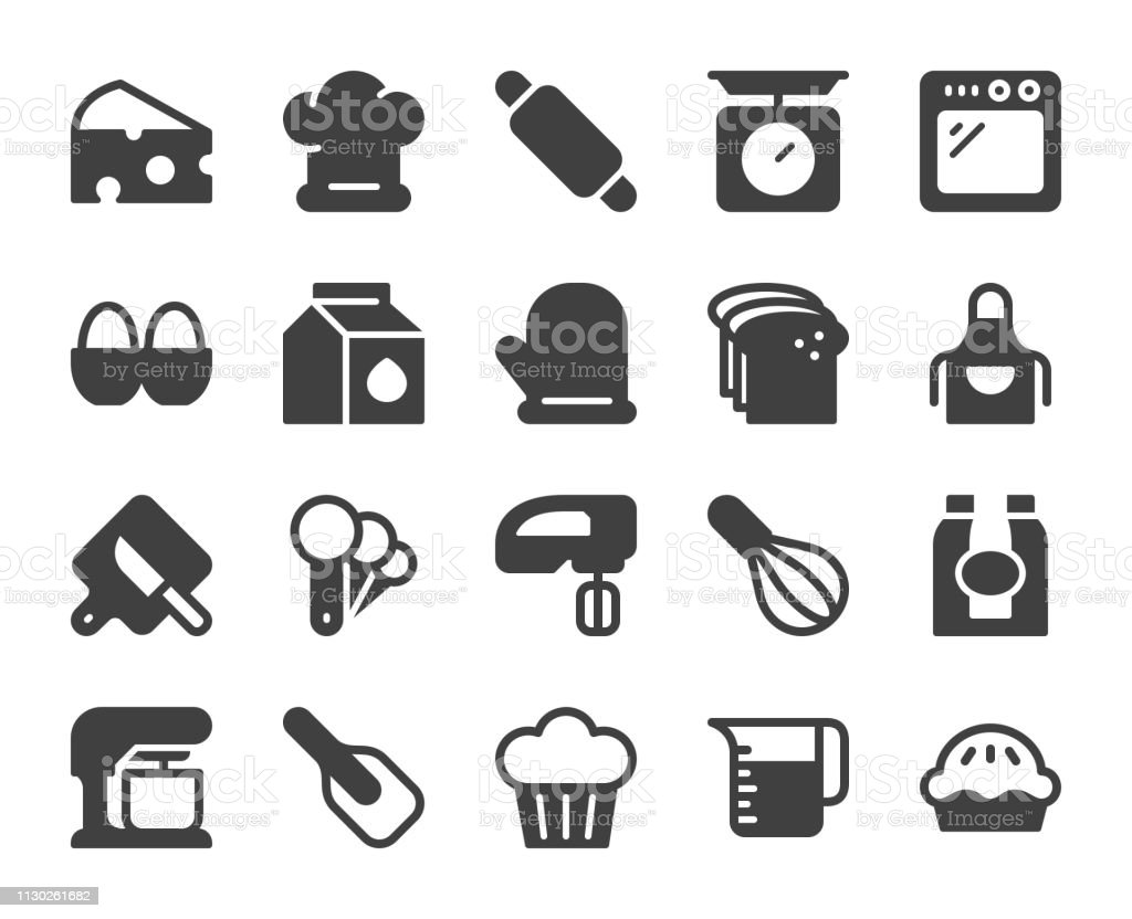 Baking and Bakery - Icons vector art illustration
