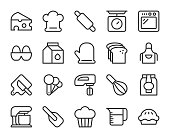 Baking and Bakery Line Icons Vector EPS File.