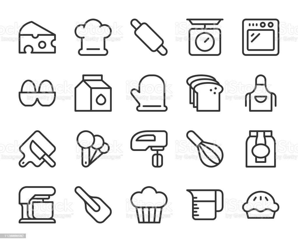 Baking and Bakery - Line Icons vector art illustration