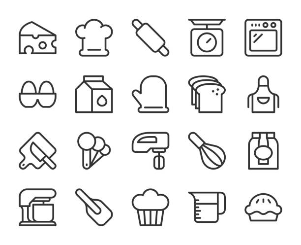 Baking and Bakery - Line Icons Baking and Bakery Line Icons Vector EPS File. oven stock illustrations