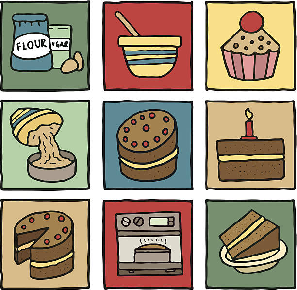 baking and cakes block icons - mixing bowl stock illustrations, clip art, cartoons, & icons
