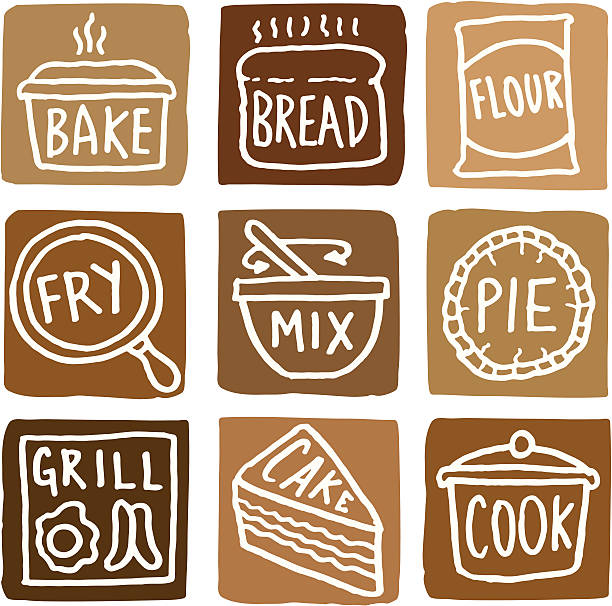 baking and cooking icons block icon set - mixing bowl stock illustrations, clip art, cartoons, & icons