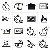 Baking and cooking icon and symbol set.