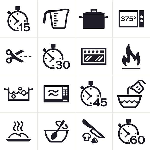 Baking and Cooking Icons Baking and cooking icon and symbol set. cooking symbols stock illustrations