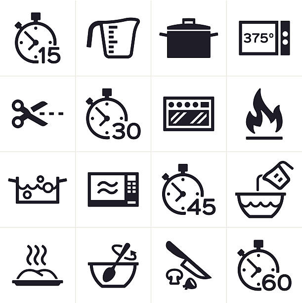 Baking and Cooking Icons Baking and cooking icon and symbol set. oven stock illustrations
