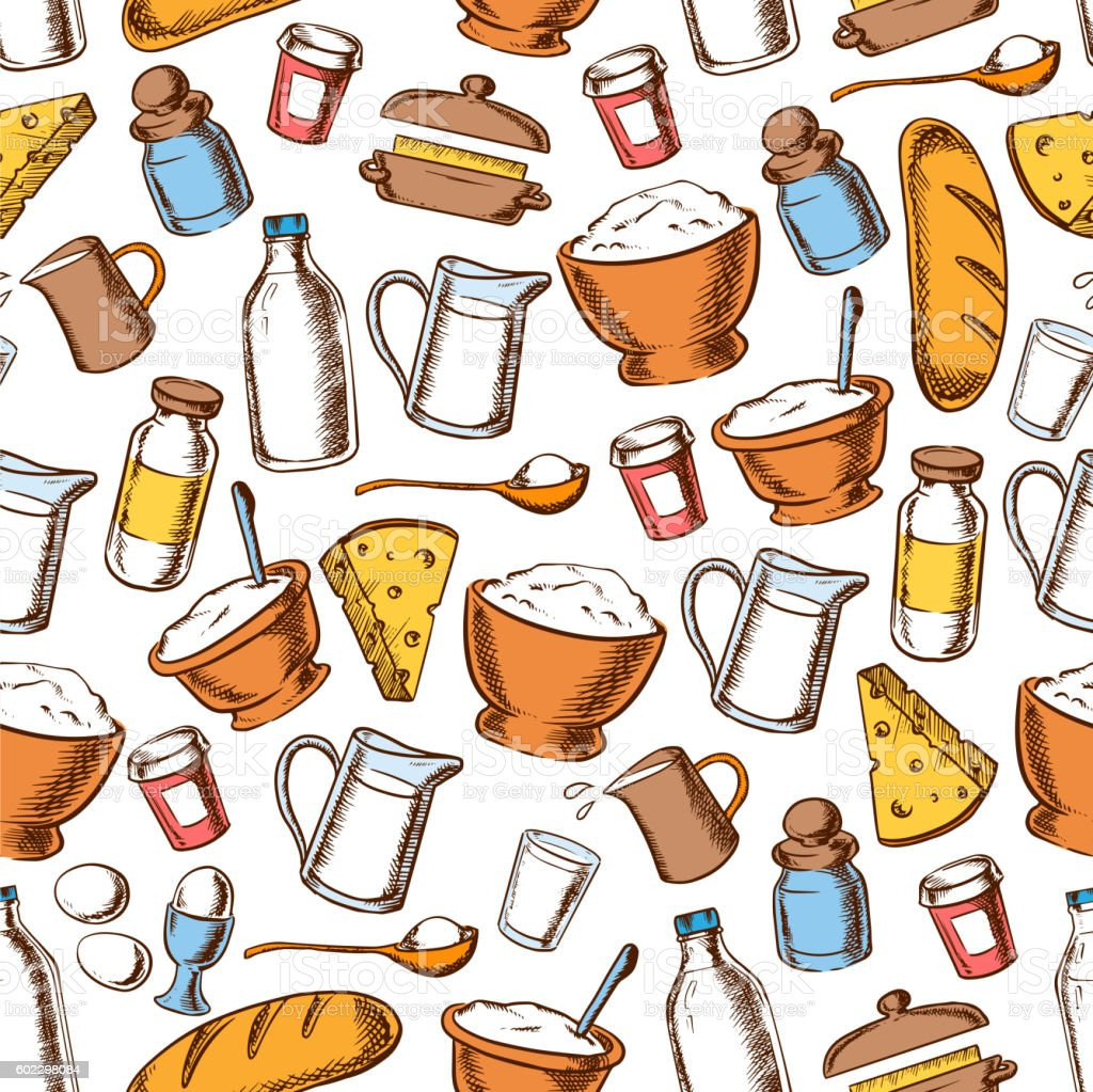 Baking and cooking ingredients seamless pattern vector art illustration