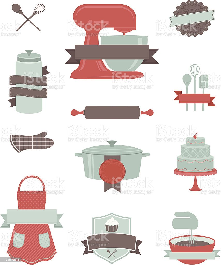 Baking and Kitchen Design Elements royalty-free baking and kitchen design elements stock vector art & more images of apron