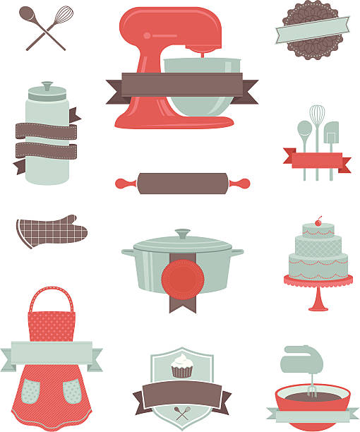 baking and kitchen design elements - mixing bowl stock illustrations, clip art, cartoons, & icons