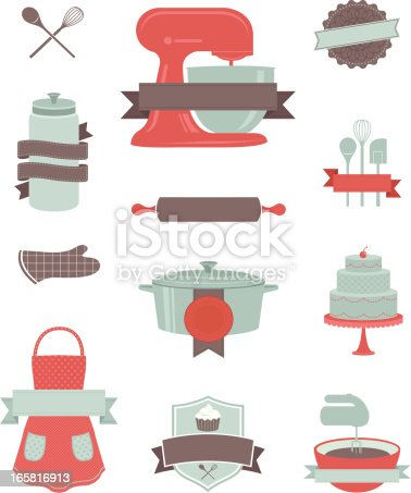 Baking and kitchen design elements stock vector art more for Kitchen design vector