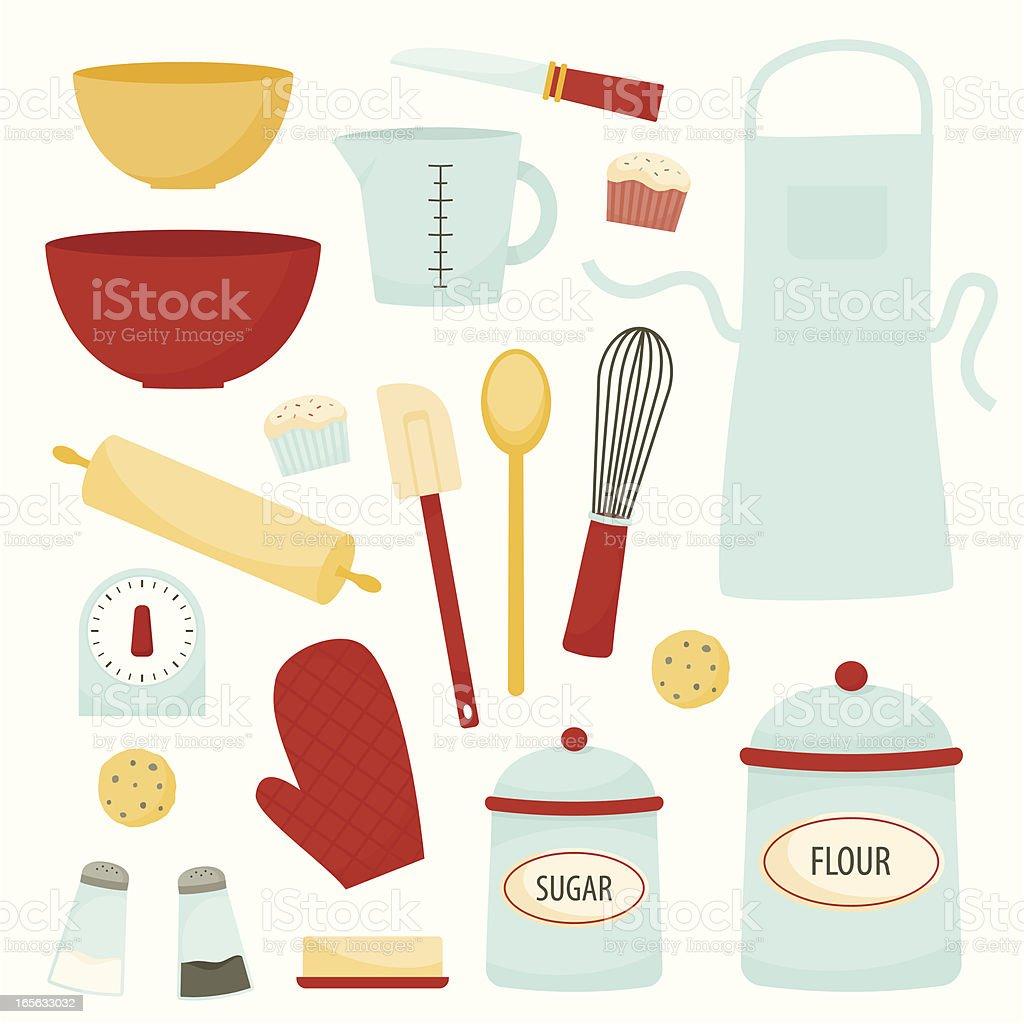 Assar e equipamentos de cozinha - ilustração de arte em vetor