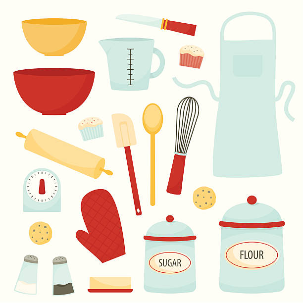 baking and kitchen equipment - mixing bowl stock illustrations, clip art, cartoons, & icons
