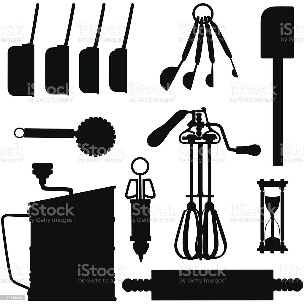 Baking and Kitchen Silhouettes vector art illustration