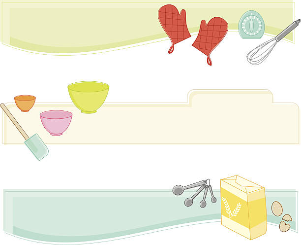 baking banners - mixing bowl stock illustrations, clip art, cartoons, & icons